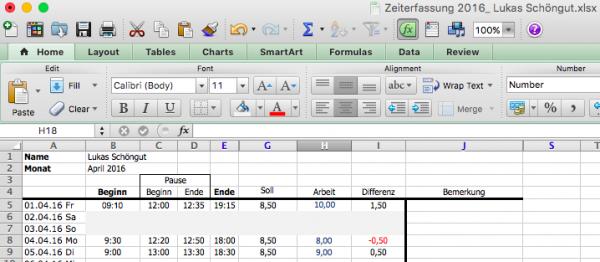 Zeiterfassung mit Excel Vorlage